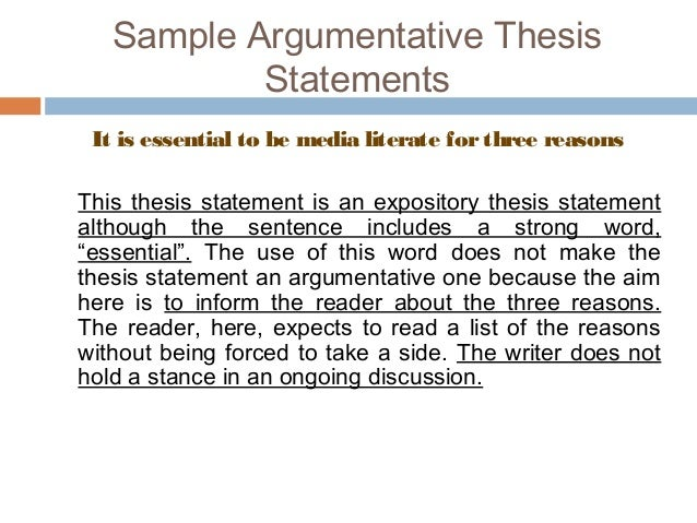 Thesis statements for argumentative essays