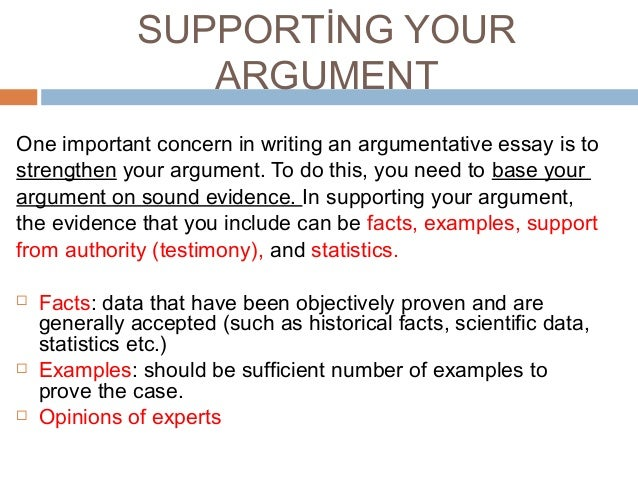 types of support in an argumentative essay