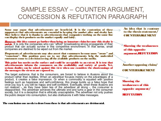 refutation concession essay Keep in mind the length requirements of the essay v refutation & concession now you need to consider the other side of the issue or the opposing argument.