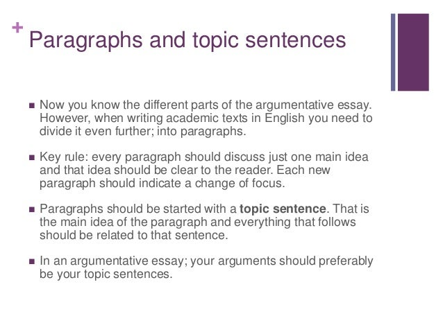 topic sentence in your essay choices argumentative essay