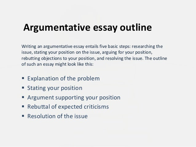 Argument essay paper outline
