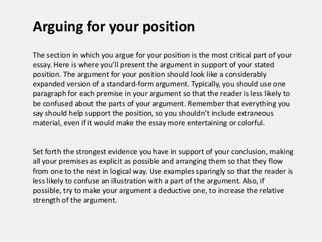 arguing a position essay Creating an argument outline although there is no set model of organization for argumentative essays, there are some common patterns that writers might use or that.