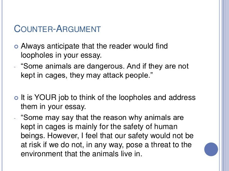 counter argument persuasive essay How to write a persuasive essay persuasive essays, like argumentative be aware of the possible counter-arguments that would go against what.