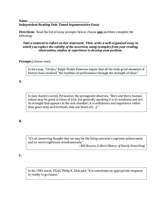argumentative essay prompt independent reading unit timed argumentative essay directions