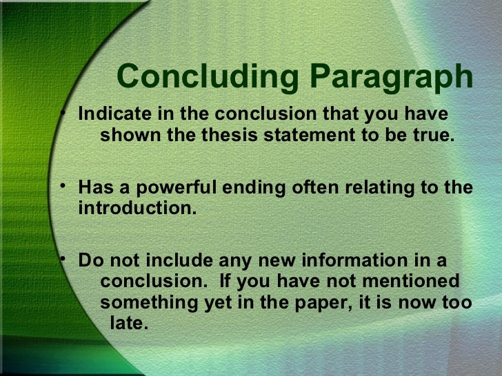 essay effective conclusion Writing an essay often seems to be a dreaded task among students whether the essay is for a scholarship, a class, or maybe even a contest, many students often find the task overwhelming while an essay is a large project, there are many steps a student can take that will help break down the task into manageable parts.