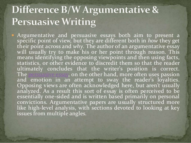 persuasive and argumentative writing Elements of persuasive/argument papers what is a persuasive/argument essay persuasive writing, also known as the argument essay, uses logic and reason to show that one idea is more legitimate than another.