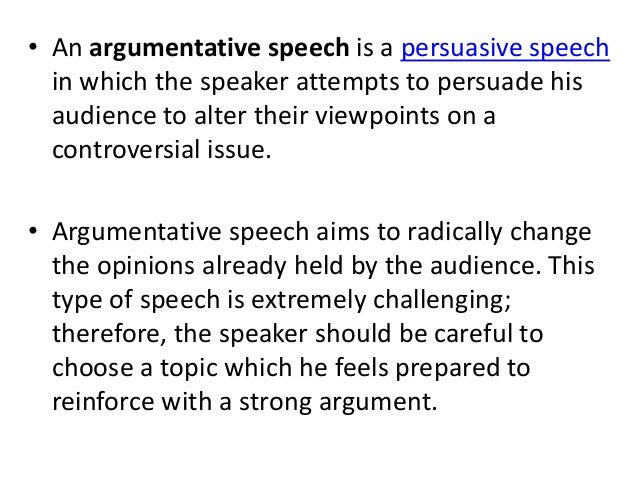 definition of argumentative speech