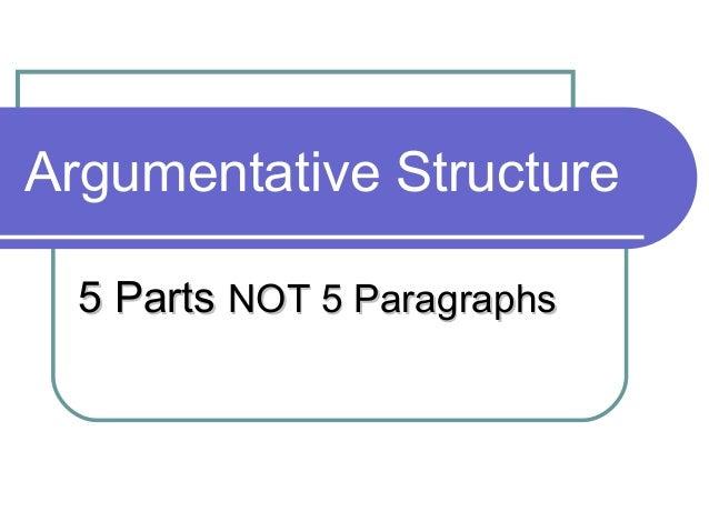 Argumentative Structure 5 Parts NOT 5 Paragraphs