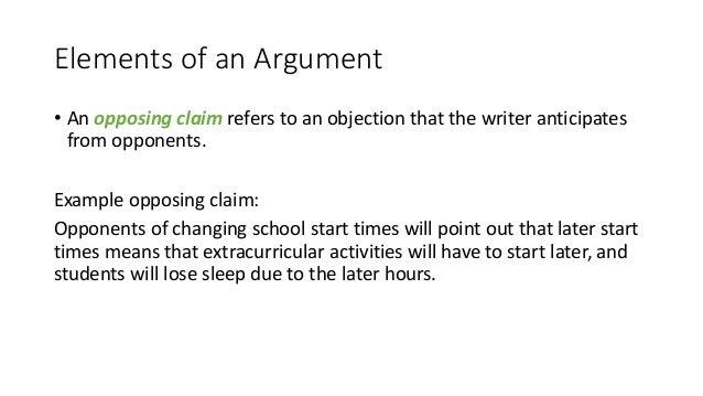 opposing claim example
