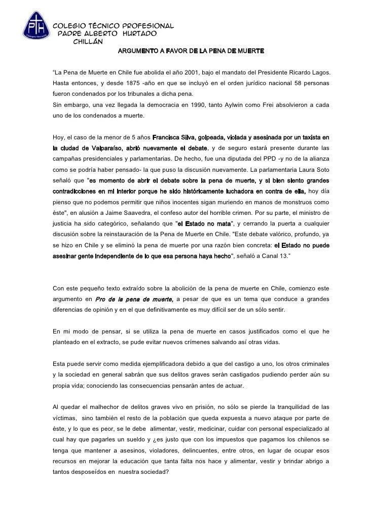Argumento A Favor De La Pena De Muerte Hecho Por Felipe