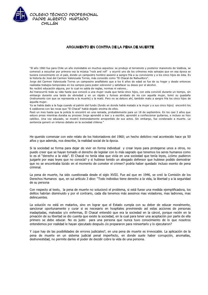 Colegio Técnico Profesional Padre Alberto Hurtado    Chillán                             ARGUMENTO EN CONTRA DE LA PENA DE...