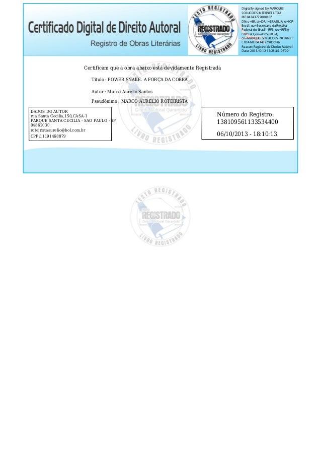Digitally signed by MARQUEI SOLUCOES INTERNET LTDA ME:04343779000107 DN: c=BR, st=DF, l=BRASILIA, o=ICPBrasil, ou=Secretar...