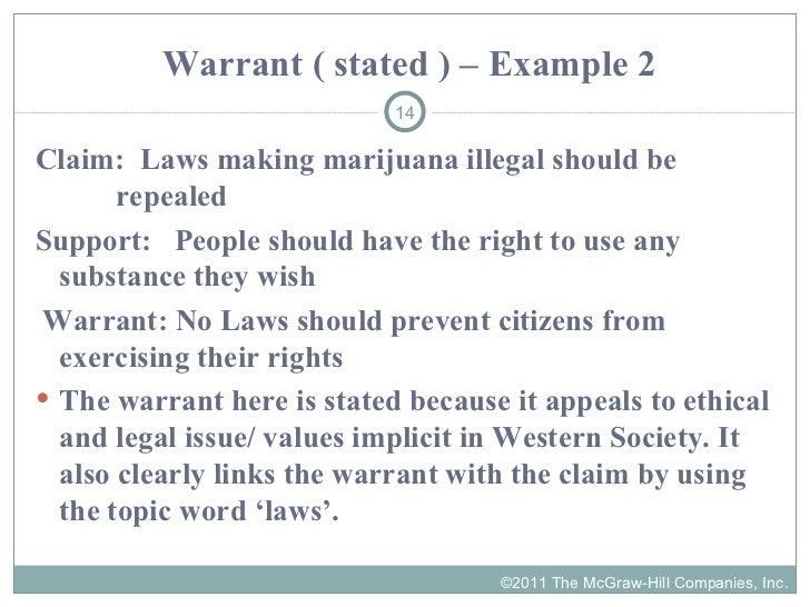 examples of warrants in argument