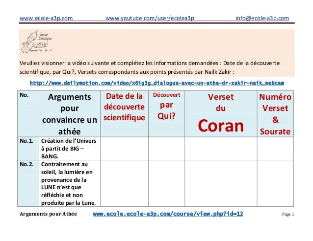 www.ecole-a3p.com www.youtube.com/user/ecolea3p info@ecole-a3p.com Arguments pour Athée www.ecole.ecole-a3p.com/course/vie...