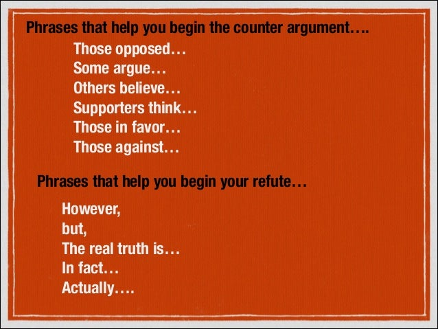 how to begin a counter argument