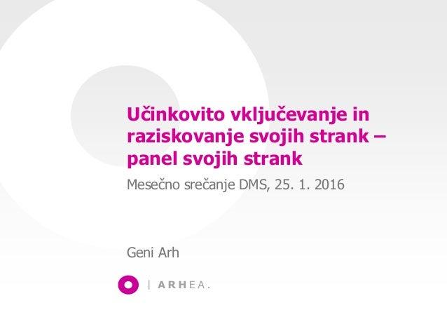 Učinkovito vključevanje in raziskovanje svojih strank – panel svojih strank Mesečno srečanje DMS, 25. 1. 2016 Geni Arh