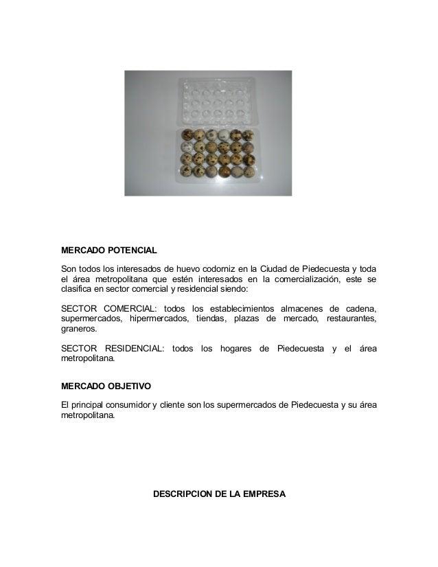 MERCADO POTENCIALSon todos los interesados de huevo codorniz en la Ciudad de Piedecuesta y todael área metropolitana que e...