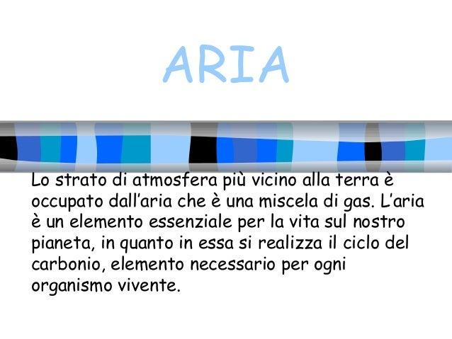 ARIA Lo strato di atmosfera più vicino alla terra è occupato dall'aria che è una miscela di gas. L'aria è un elemento esse...