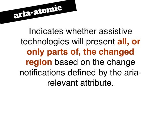 Indicates whether assistive technologies will present all, or only parts of, the changed region based on the change notific...