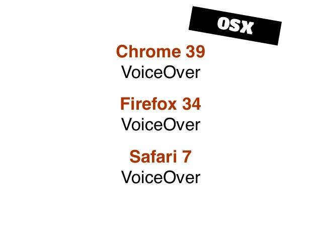 Chrome 39 VoiceOver Firefox 34 VoiceOver Safari 7 VoiceOver OSX