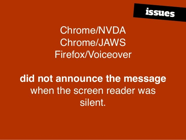 Chrome/NVDA Chrome/JAWS Firefox/Voiceover did not announce the message when the screen reader was silent. issues
