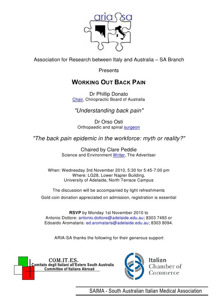 Association for Research between Italy and Australia – SA Branch                                          Presents        ...