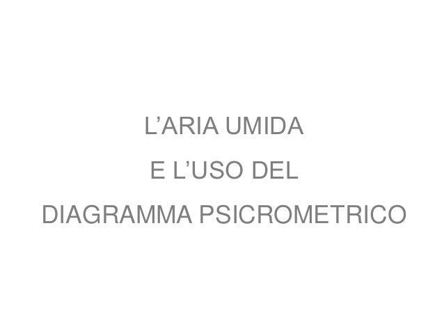 L'ARIA UMIDA E L'USO DEL  DIAGRAMMA PSICROMETRICO