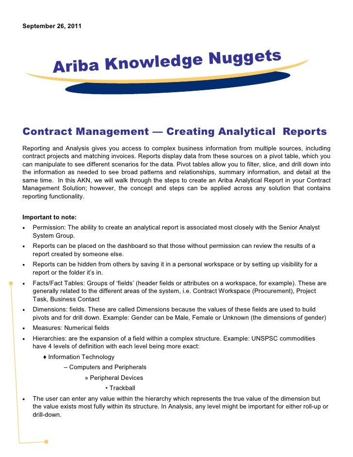 September 26, 2011           Ariba Knowledge NuggetsContract Management — Creating Analytical ReportsReporting and Analysi...