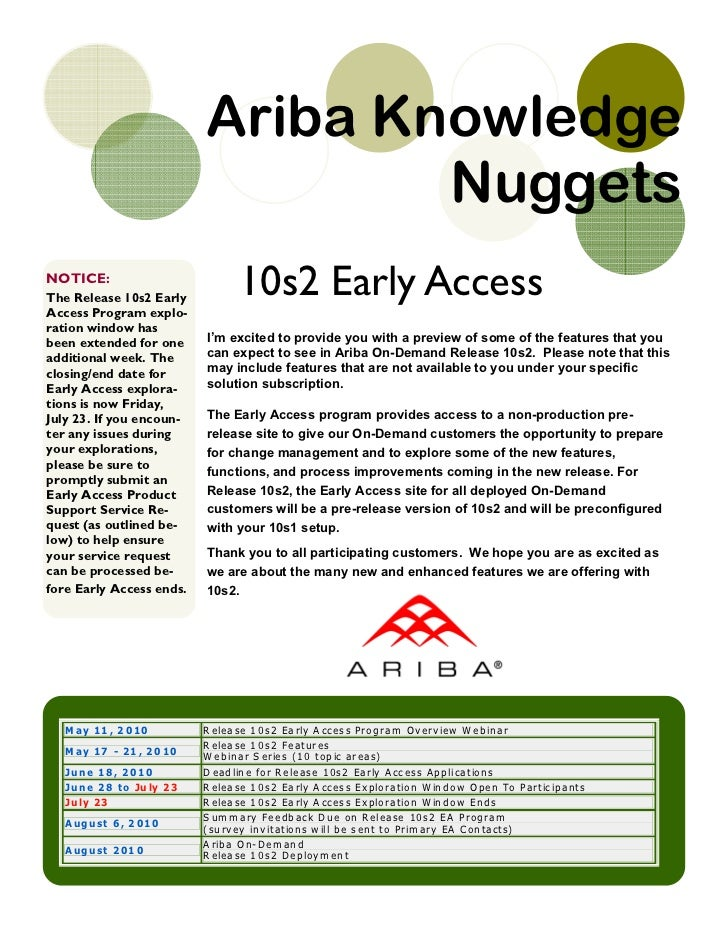 Ariba Knowledge                                   NuggetsNOTICE:The Release 10s2 Early                                  10...