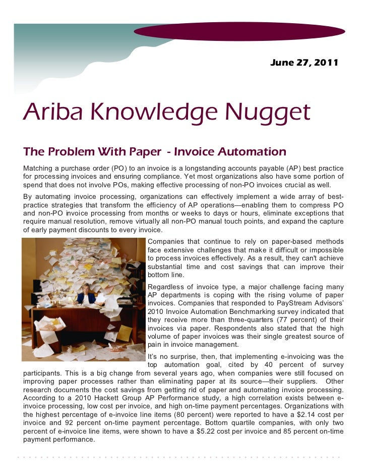 Ariba Knowledge Nuggets Invoice Automation - Invoice management process