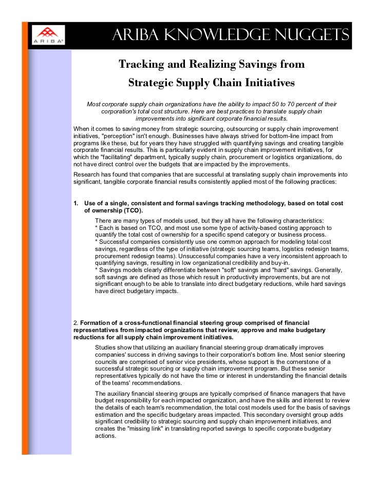 ARIBA KNOWLEDGE NUGGETS                 Tracking and Realizing Savings from                   Strategic Supply Chain Initi...