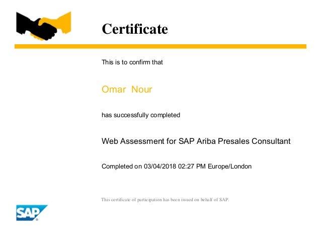 Ariba presales consultant certificate