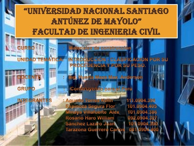 """UNIVERSIDAD NACIONAL SANTIAGOANTÚNEZ DE MAYOLO""FACULTAD DE INGENIERIA CIVIL"