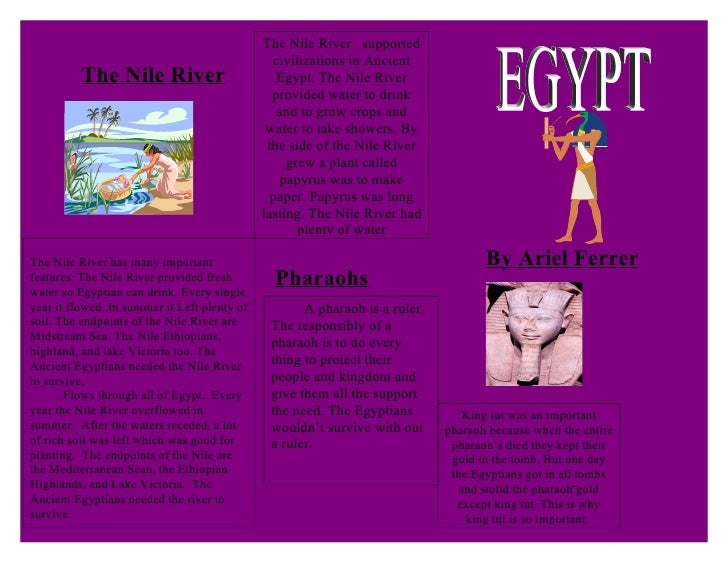 Ariel brochure for Ancient egypt brochure