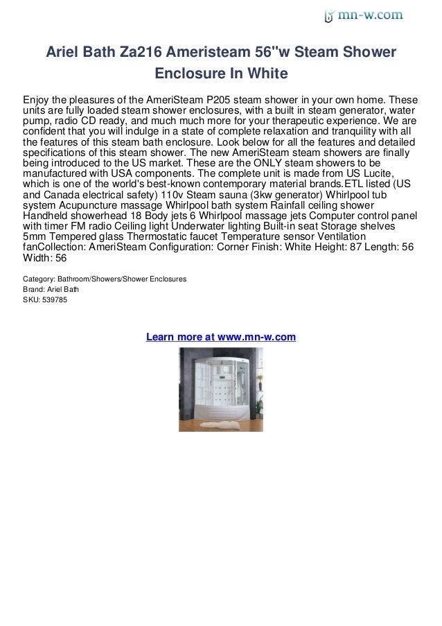 "Ariel Bath Za216 Ameristeam 56""w Steam Shower                    Enclosure In WhiteEnjoy the pleasures of the AmeriSteam P..."