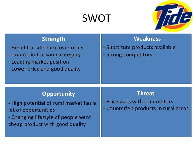 swot analysis of tide detergent Boston consulting group matrix of procter need essay sample on boston consulting group matrix of procter & gamble's tide detergent swot analysis is a.
