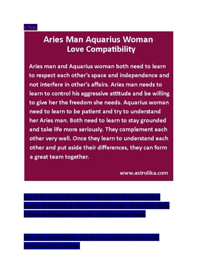 Aquarius woman dating an aries man