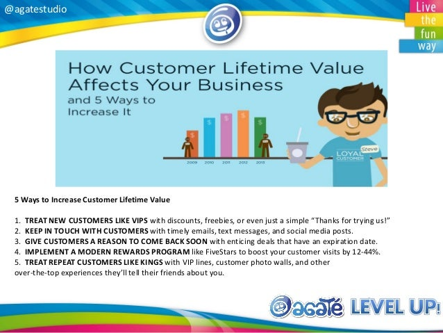 @agatestudio 5 Ways to Increase Customer Lifetime Value 1. TREAT NEW CUSTOMERS LIKE VIPS with discounts, freebies, or even...