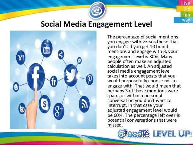 Social Media Engagement Level The percentage of social mentions you engage with versus those that you don't. If you get 10...