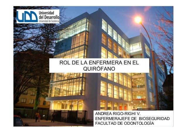 ROL DE LA ENFERMERA EN ELQUIRÓFANOANDREA RIGO-RIGHI V.ENFERMERAJEFE DE BIOSEGURIDADFACULTAD DE ODONTOLOGÍA