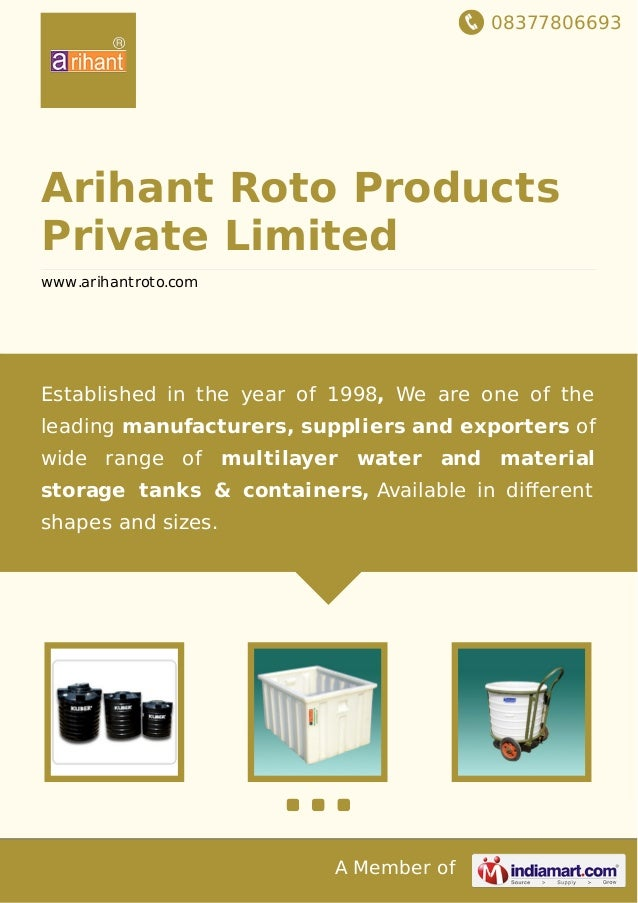 08377806693 A Member of Arihant Roto Products Private Limited www.arihantroto.com Established in the year of 1998, We are ...