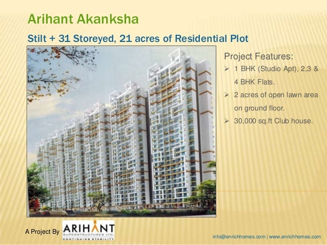 Arihant Akanksha Stilt + 31 Storeyed, 21 acres of Residential Plot Project Features:  1 BHK (Studio Apt), 2,3 & 4 BHK Fla...