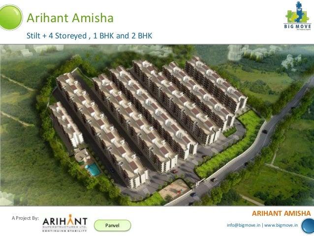info@bigmove.in | www.bigmove.in A Project By: Panvel ARIHANT AMISHA Arihant Amisha Stilt + 4 Storeyed , 1 BHK and 2 BHK
