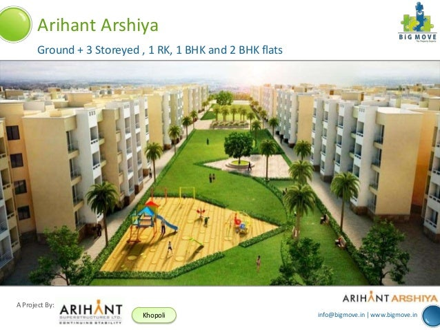 info@bigmove.in | www.bigmove.in A Project By: Khopoli Arihant Arshiya Ground + 3 Storeyed , 1 RK, 1 BHK and 2 BHK flats