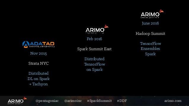 @pentagoniac @arimoinc #SparkSummit #DDF arimo.com Feb 2016 Distributed TensorFlow on Spark Spark Summit East June 2016 Te...