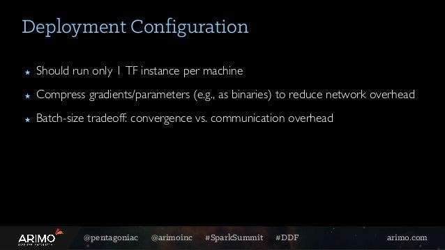 @pentagoniac @arimoinc #SparkSummit #DDF arimo.com Deployment Configuration ★ Should run only 1 TF instance per machine ★ ...