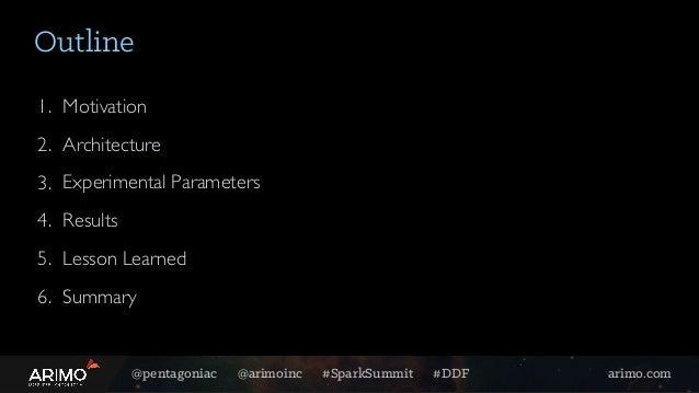 @pentagoniac @arimoinc #SparkSummit #DDF arimo.com 1. Motivation 2. Architecture 3. Experimental Parameters 4. Results 5. ...