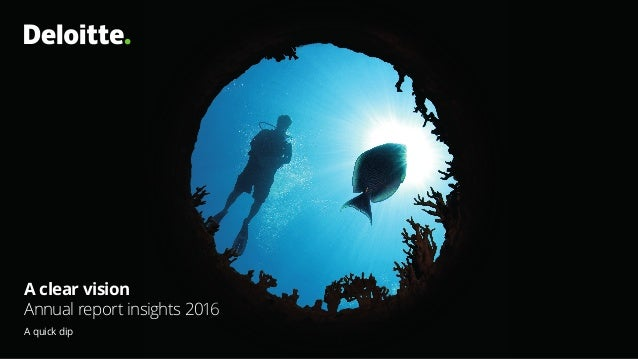 A clear vision Annual report insights 2016 A quick dip