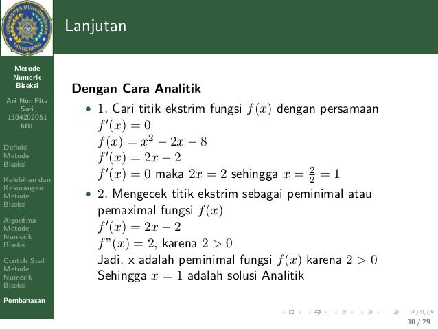 Tugas Metode Numerik Pendidikan Matematika Umt