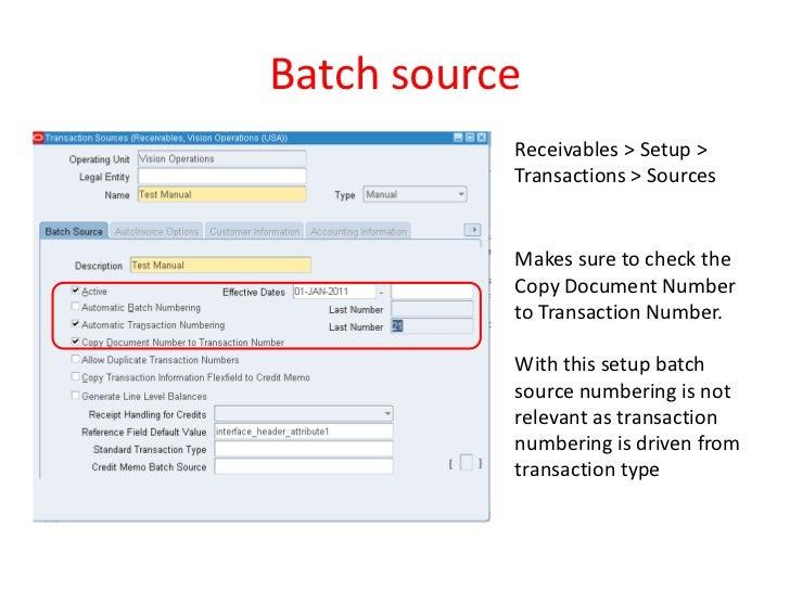 Transaction Numbering in Oracle Receivables